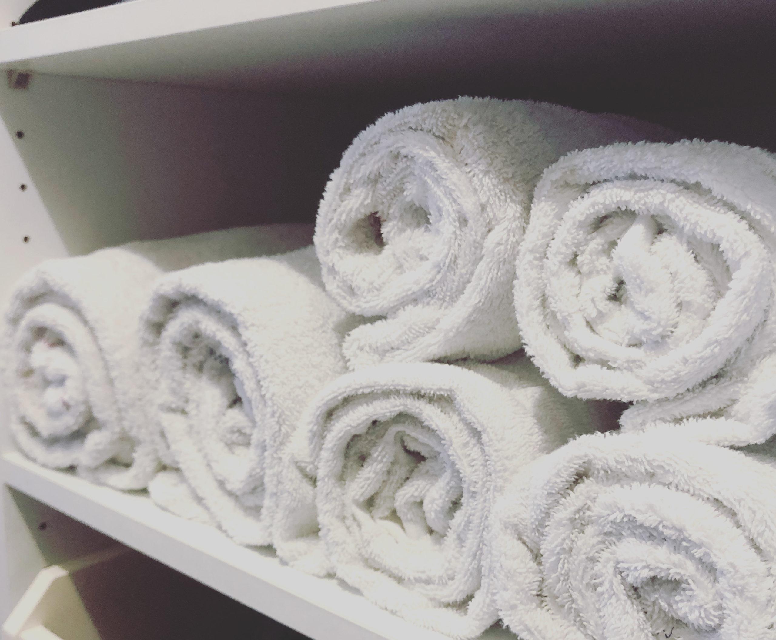 Rangement serviettes méthode KonMari